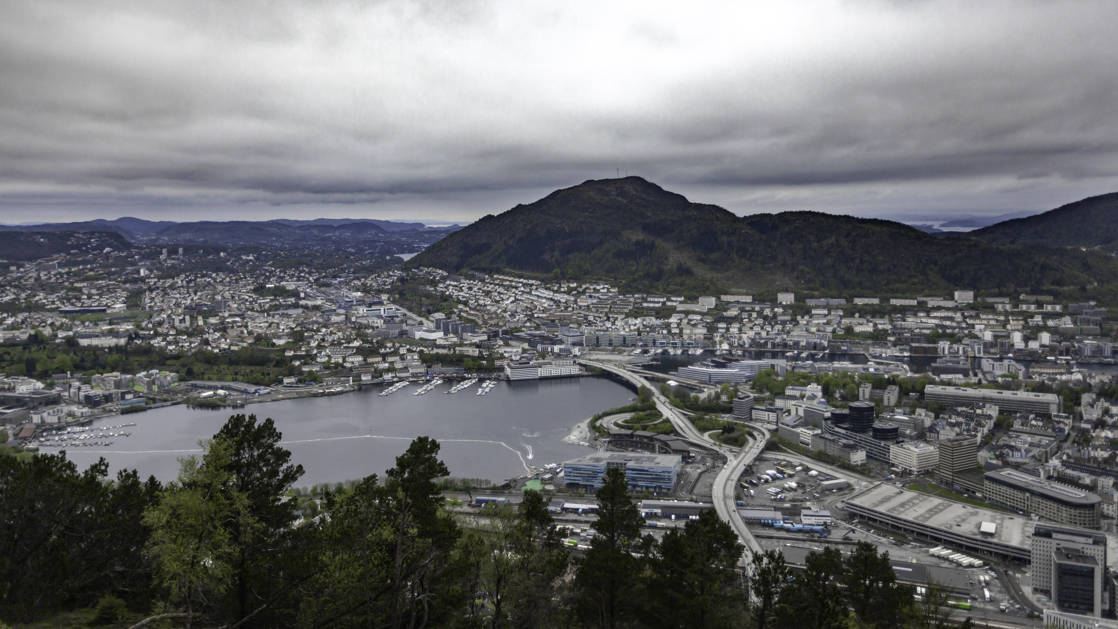 View of the city of Bergen from a hiking trail up one of the mountains