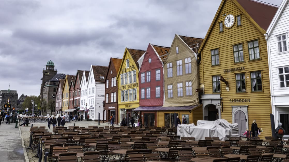 The UNESCO heritage site and colorful building fronts along the promenade by the water in downtown Bergen, Norway