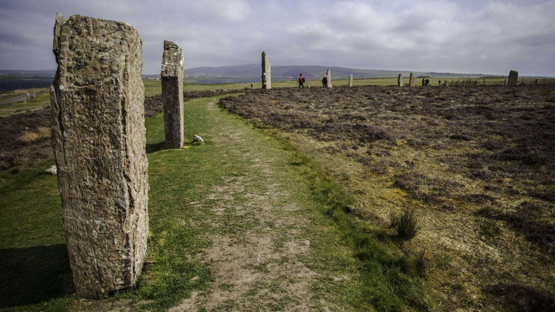 The standing stones at Kirkwall Ring of Brogar in Scotland