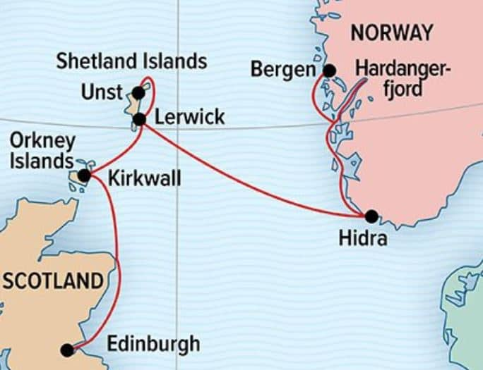Norwegian Fjords and Scottish Isles route map.