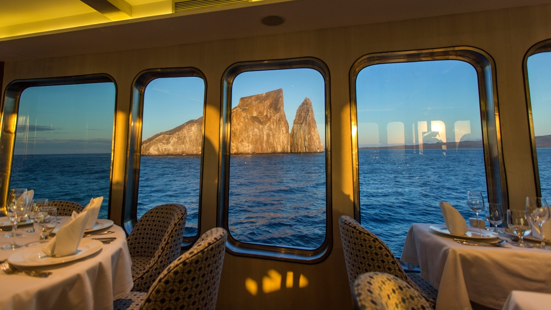 Taken from the dining room looking out the windows to kicker rocks aboard the Origin theory Evolve Galapagos ship,
