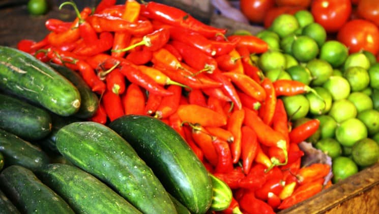 cucumbers, peppers and limes at market on otavalo escape land tour of ecuador