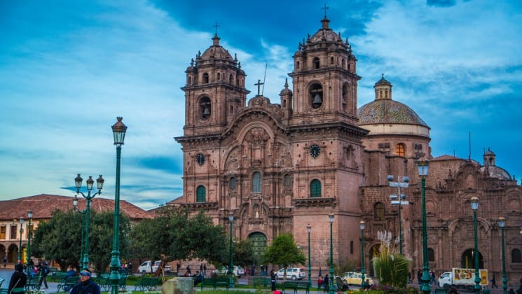 cathedral in cusco as sun sets, seen on peru highlights land tour