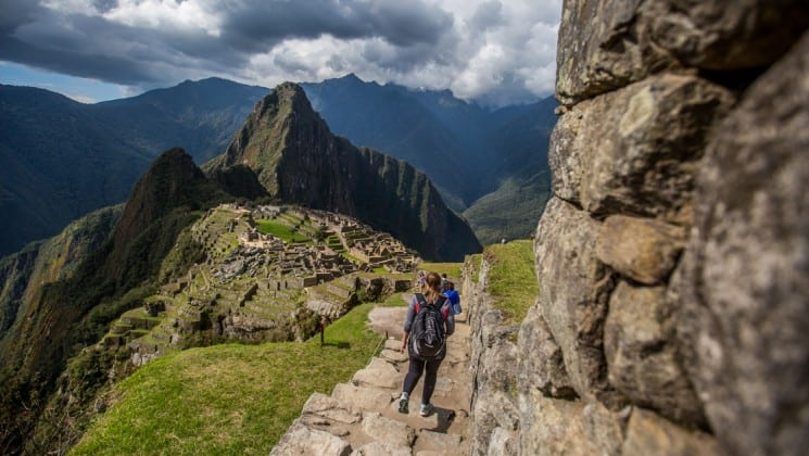 approaching machu picchu on peru highlights land tour