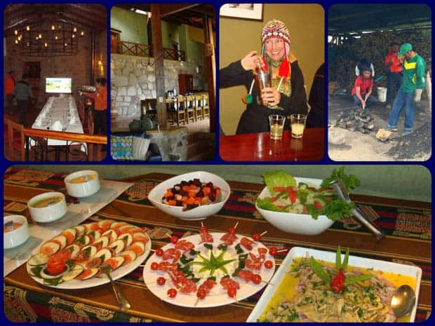 Peruvian mountain lodge with happy travelers making Pisco Sours and appetizers of local foods.