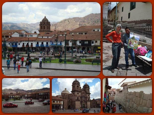 The city of Cusco in Peru with Plaza de Armas, local artists, colonial cathedral, ruin.