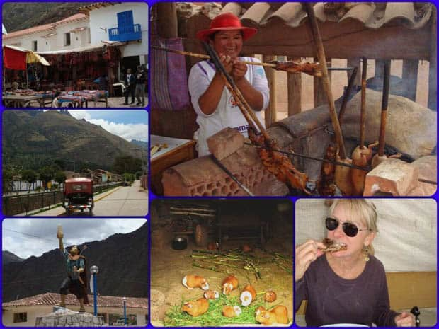Peruvian village of Pisac with outdoor market, guinea pigs and happy traveler sampling guinea pig on a stick.
