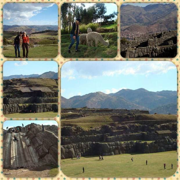 Ruin of Sacsayhuaman in Peru with happy travelers exploring the ruin, walking with llamas and sliding down a stone water slide.