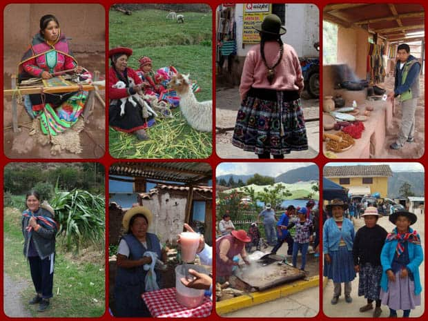 Peruvian local people in traditional dress weaving textile, cooking in markets and shaving the wool off of llamas.