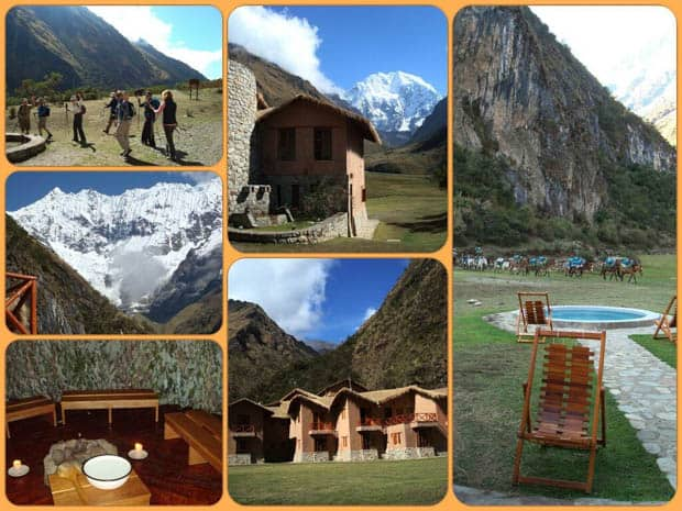 Mountain Lodge in Peru with travelers hiking and snow-capped mountains, sauna, hot tub and horses.