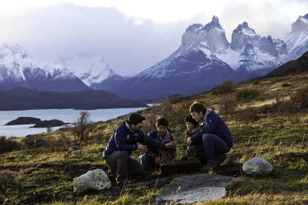 People working on the reforestation project in Torres del Paine National Park in Chile.