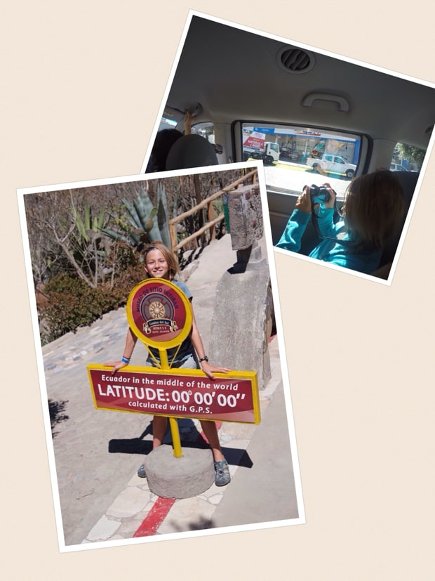 collage showing a female solo traveler taking a photo from a tour van in quito, and a girl standing at the zero latitude maker in ecuador