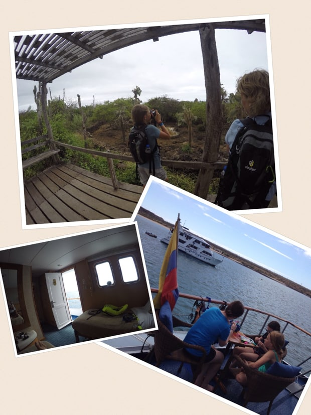 collage showing a girl taking a picture of the galapagos islands, interior hotel shot, and travelers eating on a sun deck of a luxury small ship