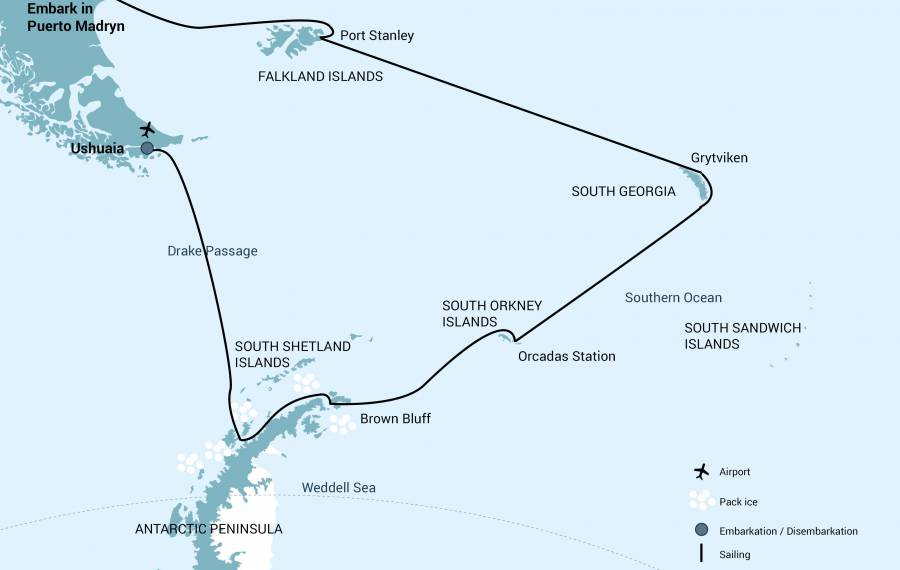 Route map of 21-day Falklands, South Georgia & Antarctica small ship expedition, operating between Puerto Madryn and Ushuaia, Argentina, with additional visits to the South Orkney Islands & the Antarctic Peninsula.