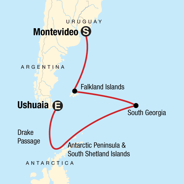 22-Day Spirit of Shackleton Aboard Expedtion Cruise route map through Antarctica, South Georgia and Falklands, operating between Montevideo, Uruguay & Ushuaia, Argentina.