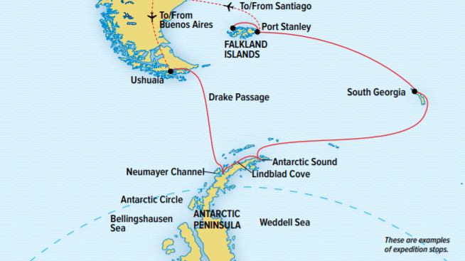 Route map of 24-day National Geographic Antarctica, South Georgia & Falkland Islands small ship cruise, operating between Santiago, Chile, and Buenos Aires, Argentina.
