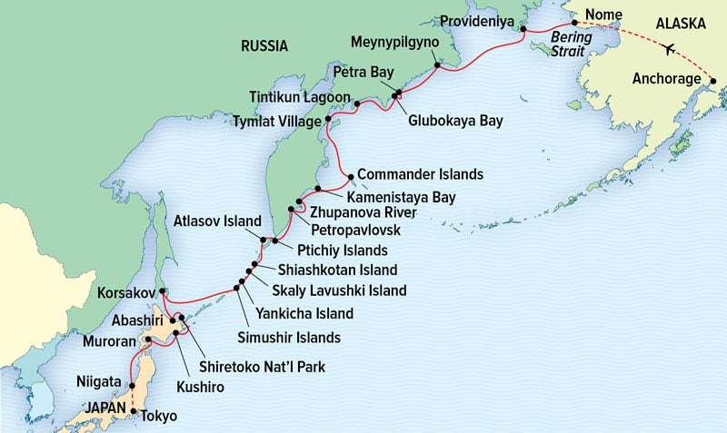 Route map of Along the Ring of Fire: Kamchatka, Kuril Islands & Hokkaido voyage, operating between Nome, Alaska, and Tokyo, Japan.