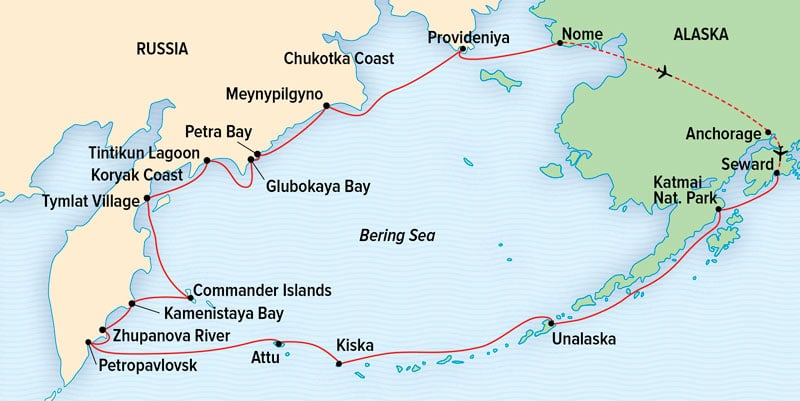 Route map for Across the Bering Sea from Katmai to Kamchatka expedition cruise between Alaska and eastern Russia.