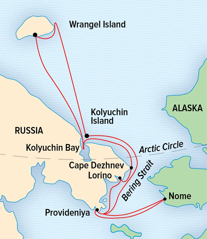 Route map for Exploring Russia's Far East & Wrangel Island between Nome, Alaska and the eastern Russia coast.
