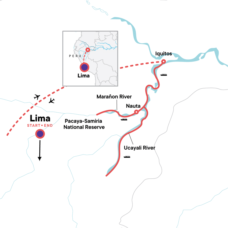 Amatista Amazon Cruise route map for a 9-day river cruise.
