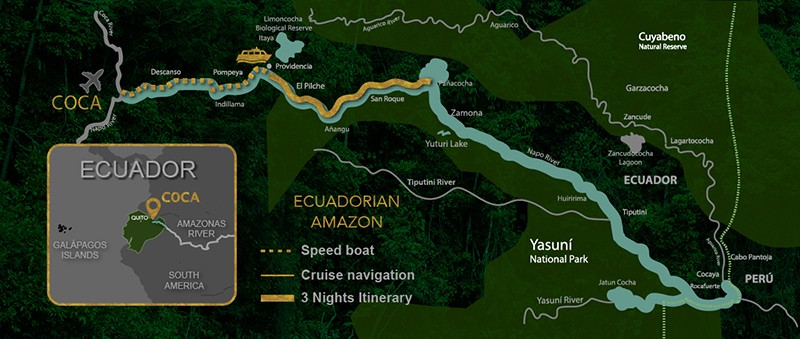 Route map of 4-day Anakonda and Manatee Amazon Cruise itinerary.