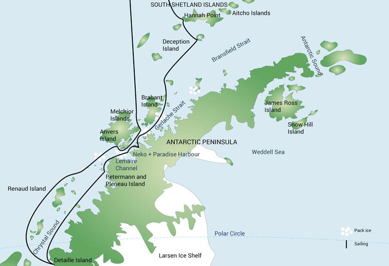 Route map of 12-day Polar Circle Cruise, operating round-trip from Ushuaia, Argentina, with visits to the South Shetland Islands & Antarctic Peninsula as far south as Detaille Island.