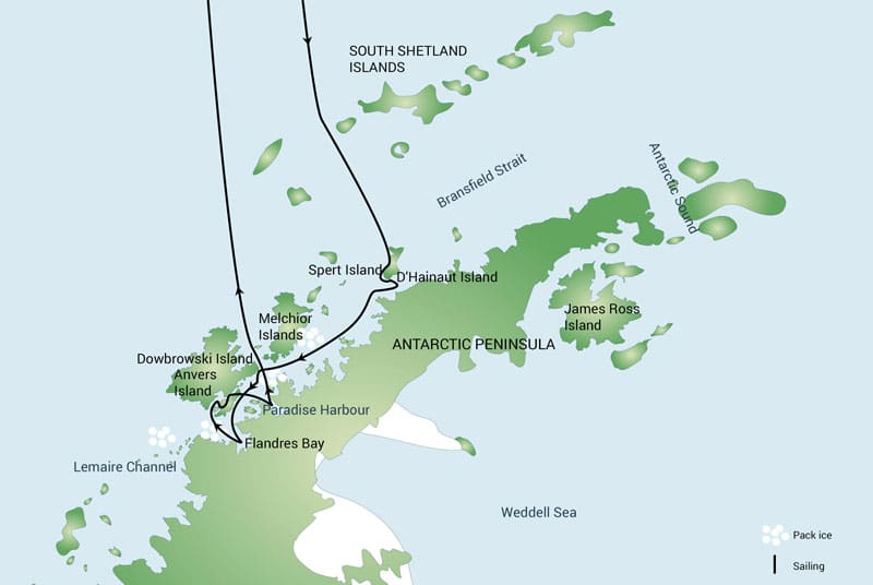 Route map of Antarctica Basecamp Cruise Anvers Island & Flandres Bay departures, operating round-trip from Ushuaia with visits along the northern end of the Antarctic Peninsula.