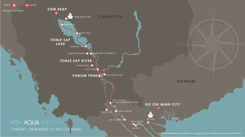 Route map of Aqua Mekong River Cruise 8-Day High-Water Down-River small ship expedition from Siem Reap, Cambodia to Saigon, Vietnam, with stops at Tonle Sap Lake, Phnom Penh, My An Hung, Binh Thanh, Sa Dec, Cai Be & My Tho.