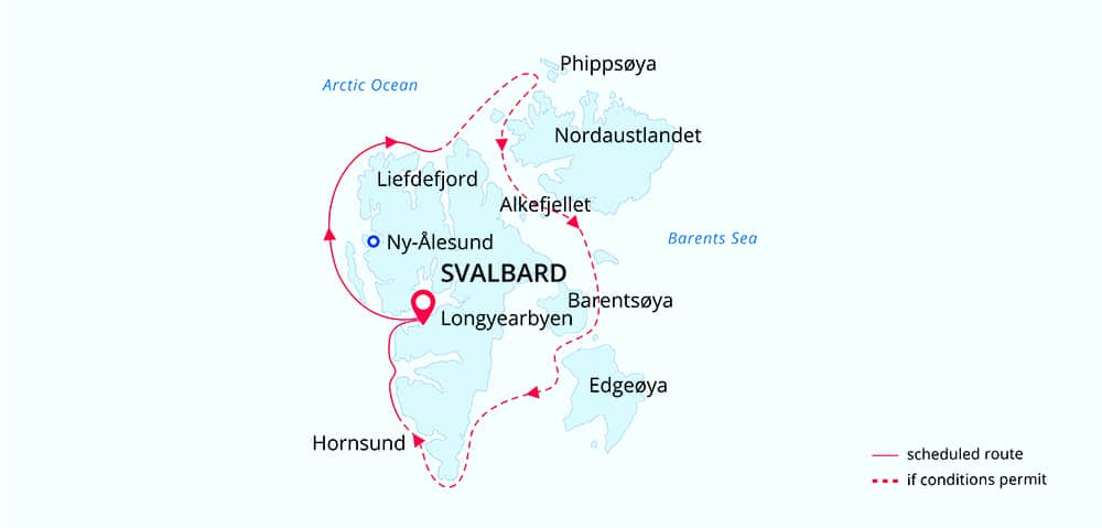 Route map of Best of Svalbard Arctic small ship cruise, operating round-trip from Longyearbyen with an attempt to circumnavigate Svalbard.
