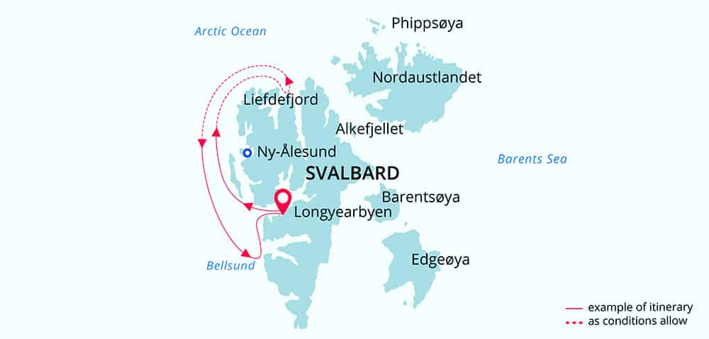 Route map of Svalbard Discovery Arctic small ship voyage, operating round-trip from Longyearbyen, Svalbard, Norway, with visits along the northwestern shoreline of Spitsbergen.
