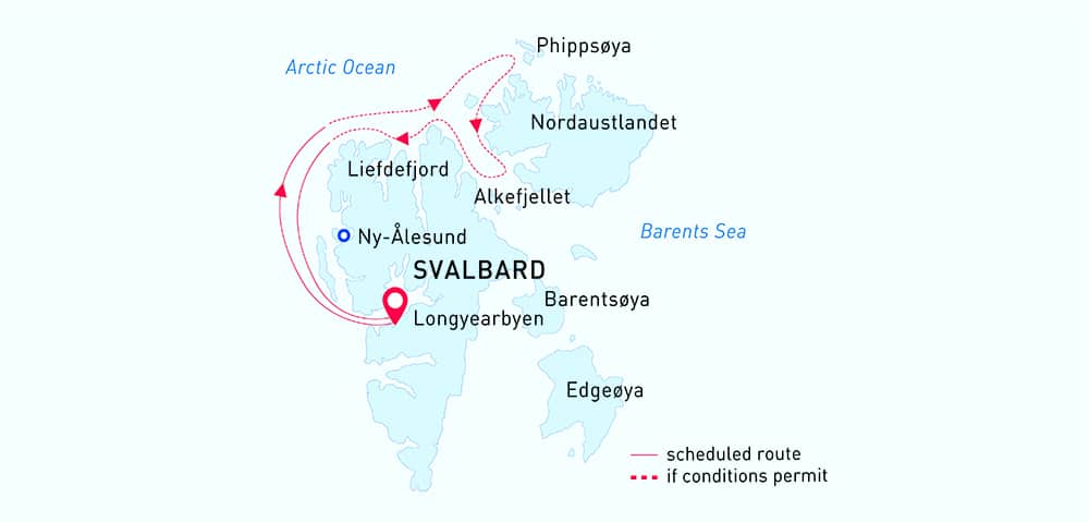Arctic Wildlife Safari route map from Longyearbyen, Svalbard.