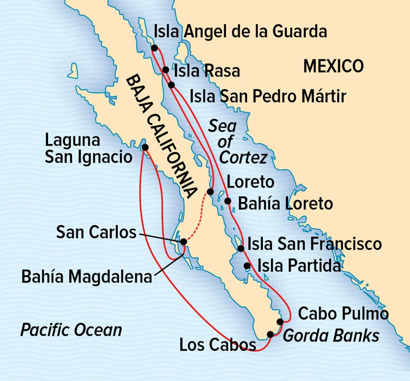 Route map of 15-day main & reverse Baja: A Remarkable Journey small ship cruise, operating between Loreto and San Carlos with visits to Bahia Magdalena, Laguna San Ignacio & islands within the Sea of Cortez.