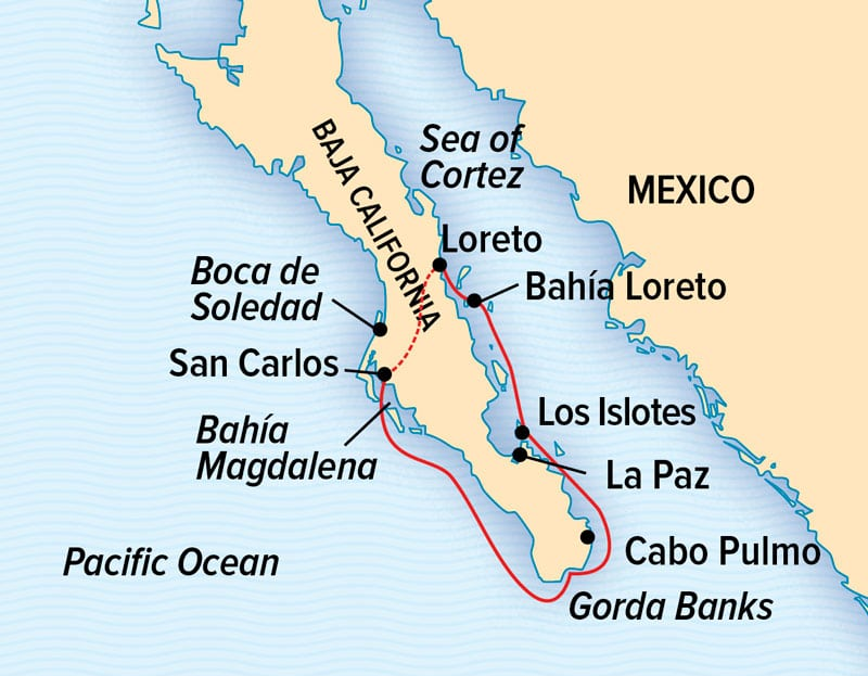 Baja California: Among the Great Whales cruise route map, operating round-trip from Loreto with visits to San Carlos, Magdalena Bay, Cabo Pulmo, La Paz & Los Islotes.