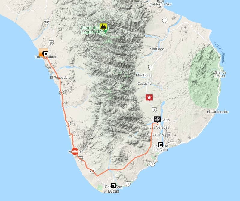 Route map of Baja Intimate Insider land tour, operating round-trip from San Jose del Cabo, with visits to Todos Santos and Sierra La Laguna Biosphere Reserve.