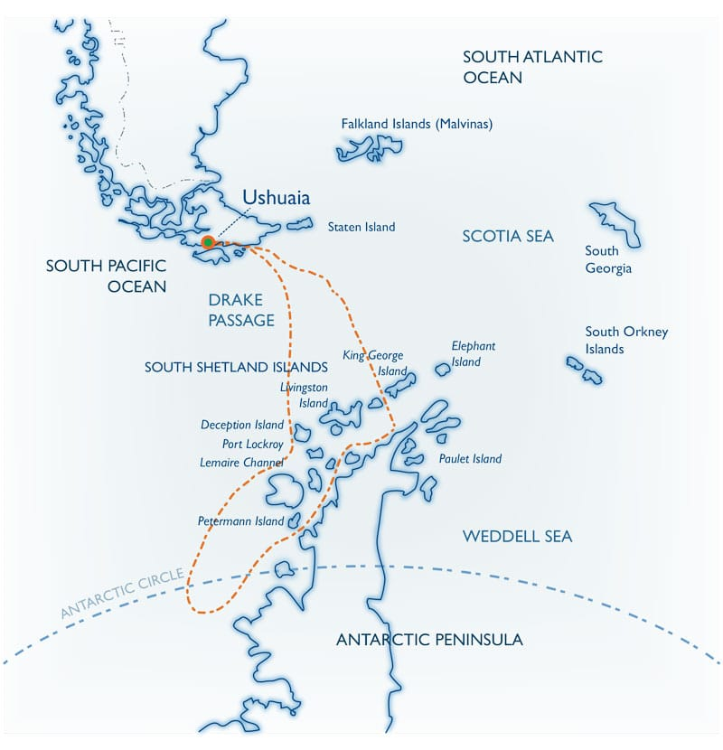 Route map of Polar Circle Quest Antarctica small ship expedition cruise, operating round-trip from Ushuaia, Argentina, with visits to the South Shetland Islands and the Antarctic Peninsula.