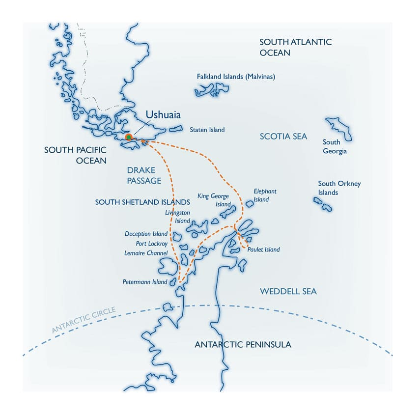 Route map for Classic Antarctica small ship cruise roundtrip from Ushuaia, Argentina with stops along the Antarctic Peninsula and South Shetland Islands.