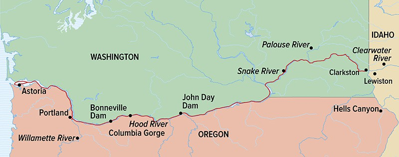 Columbia and Snake Rivers Journey route map from Portland to Clarkston.