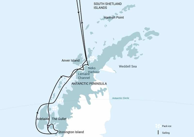 Route map of Polar Circle Cruise Deep South Discovery, operating round-trip from Ushuaia, Argentina, with visits to the Antarctic Peninsula as far south as near to the Antarctic Circle.