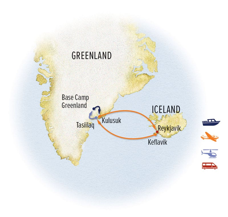 Discover Greenland route map to and from Reykjavik, Iceland.