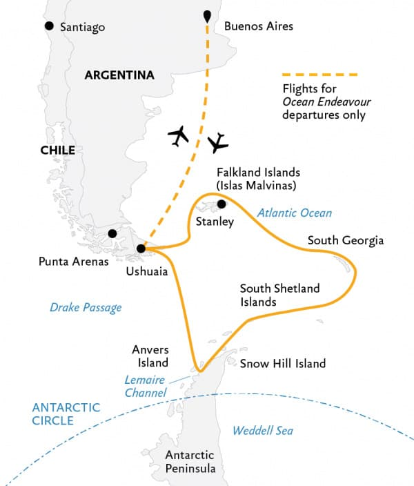 Route map of Explorers & Kings small ship expedition operating between Buenos Aires & Ushuaia, Argentina, with visits to the Falkland Islands, South Georgia, the South Shetland Islands & Antarctic Peninsula.