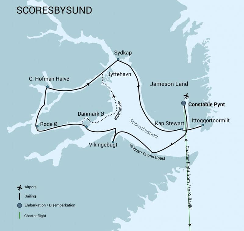 Route map of Scoresby Sund Aurora Borealis Fly & Sail east Greenland voyage itineraries, operating round-trip from Keflavik, Iceland, with visits to Constable Pynt, Ittoqqortoomiit, Sydkap & more.