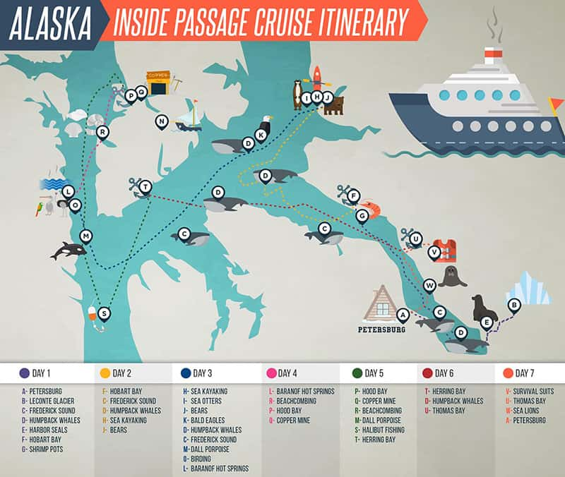 Route map of Golden Eagle Alaska inside passage small ship cruise operating round-trip from Petersburg