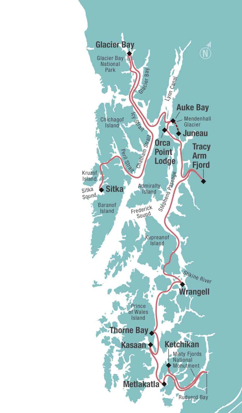 Alaska's Inside Passage Sojourn cruise Ketchikan to Sitka route map.