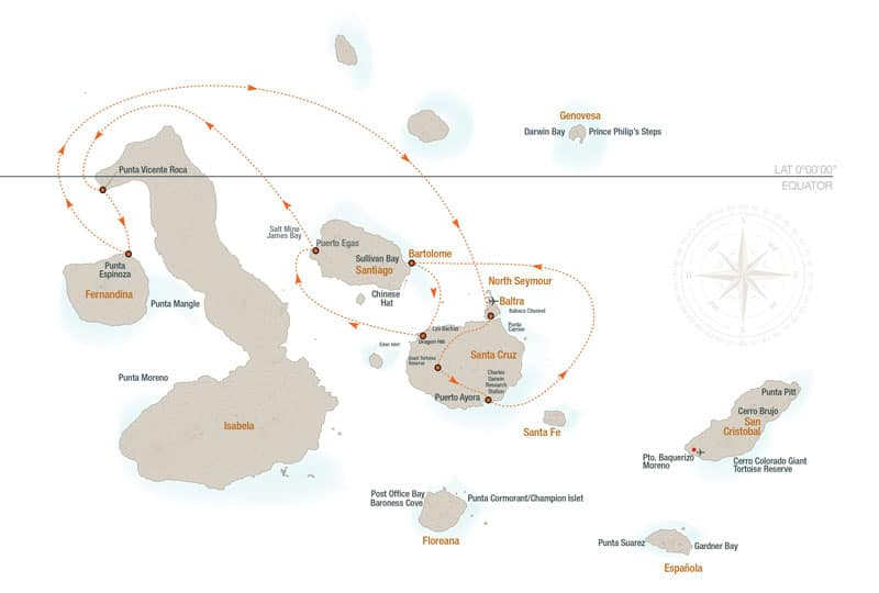 Route map for 5-Day Western Isabela II Galapagos Cruise with visits to Baltra, Santa Cruz, Bartolome, Santiago, Isabela and Fernandina islands.