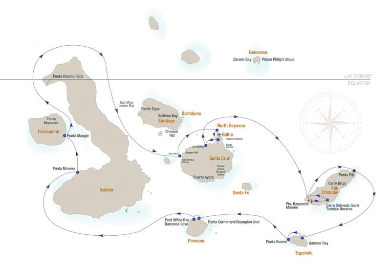 Route map for 7-Day Central Isabela II Galapagos Cruise with visits to Baltra, Santa Cruz, San Cristobal, Espanola, Floreana, Isabela, Fernandina and North Seymour islands.