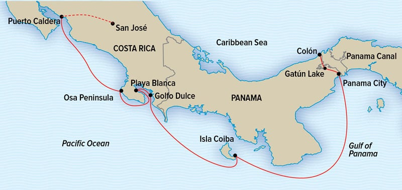 National Geographic Costa Rica and Panama Canal Cruise route map.