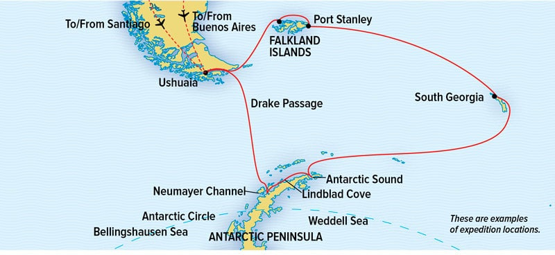 Route map of National Geographic Antarctica, South Georgia & Falklands voyage, operating round-trip from Buenos Aires, Argentina or Santiago, Chile.