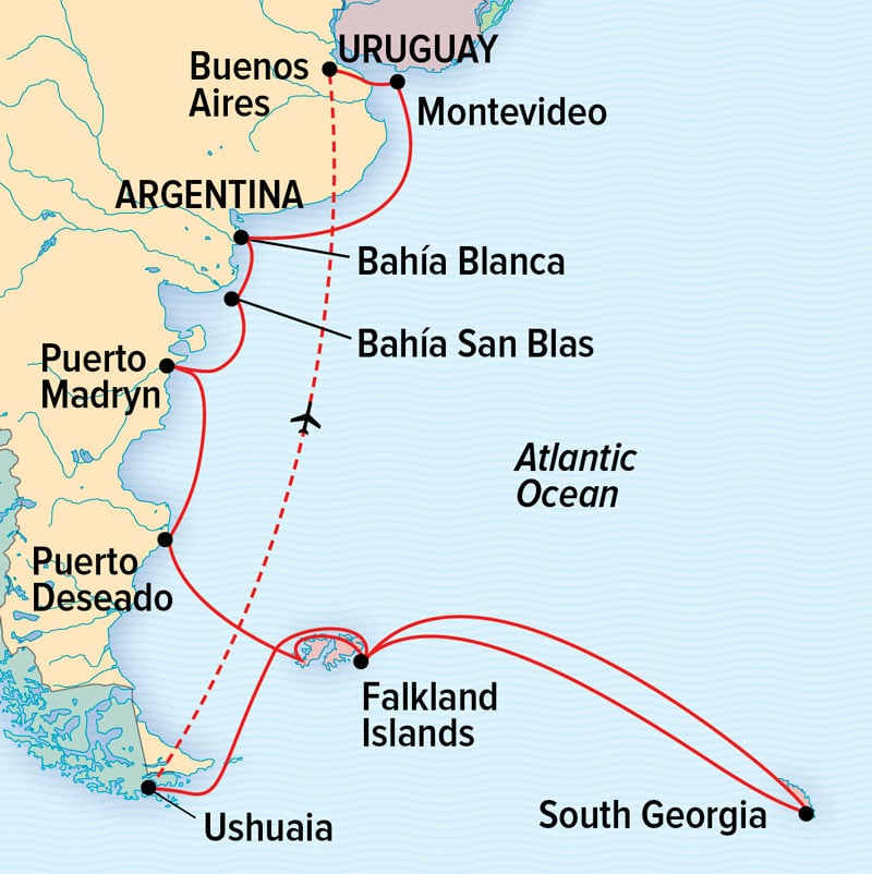 Route map of the National Geographic Argentina, South Georgia & Falkland Islands small ship voyage, operating round-trip from Buenos Aires, Argentina.