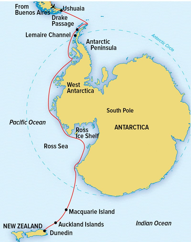 Route map of National Geographic Epic Antarctica small ship expedition main route, operating between Buenos Aires, Argentina, & Auckland, New Zealand, with stops along the Antarctic Peninsula, West Antarctica, the Ross Sea, Macquarie Island, Australia and New Zealand's Sub-Antarctic Islands.