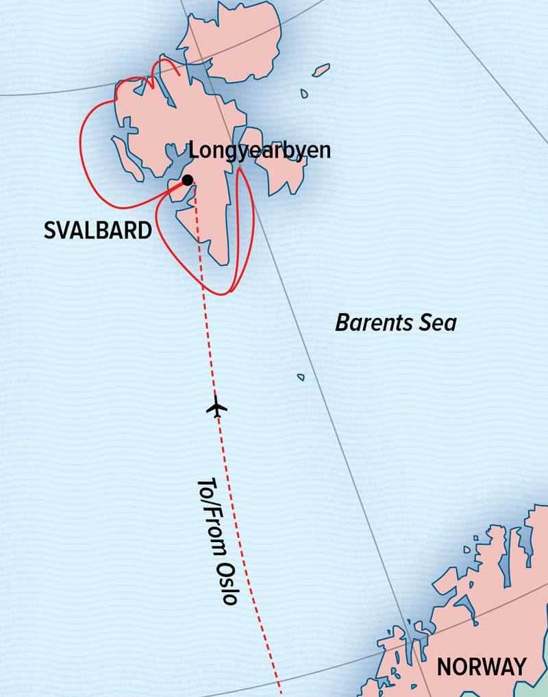Route map of National Geographic Land of the Ice Bears voyage, operating round-trip from Oslo, Norway, via Longyearbyen, Svalbard, with visits to sites along Spitsbergen's northern, western and southern coasts.